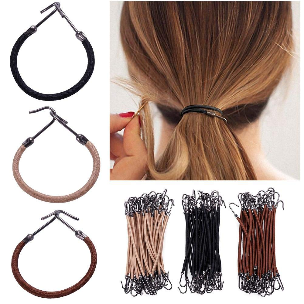 RUNGAO - 15 bandas elásticas para el pelo, 3 colores, gancho de goma, sujetador de clip de goma trenzado para hacer moños de pelo, accesorios para el peinado