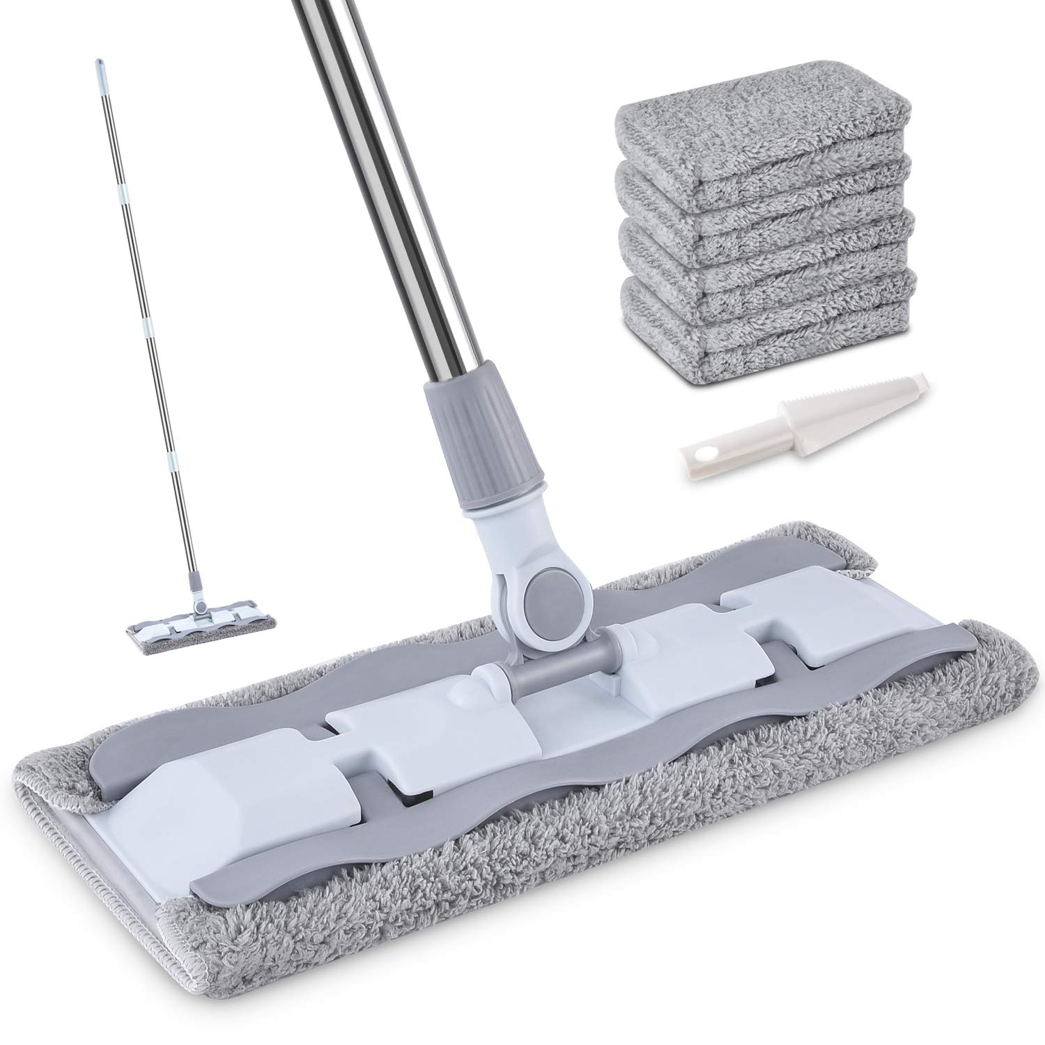 24 Microfiber Mop with 5 Pcs Reusable Mop Pads for Hardwood Durable Aluminum Flat Dust Mop with Long Handle and Scraper Cleaning Tools