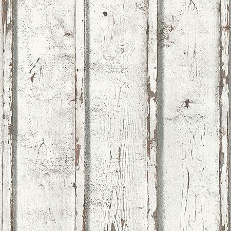 Bois Rustique Planches Papier Peint Blanc Creation 9537 01