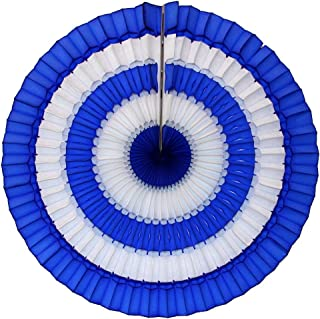 product image for Devra Party 3- Pack 16 Inch Striped Honeycomb Tissue Paper Fan (Dark Blue/White)
