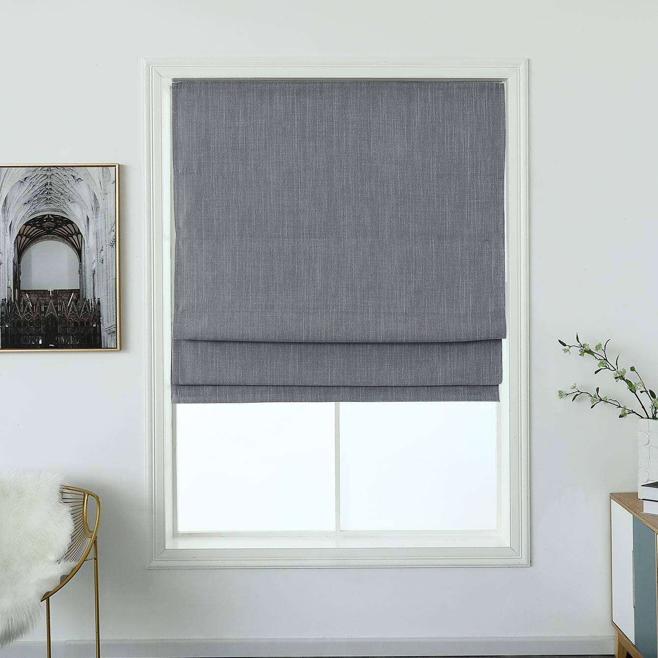 "Cordless Woven Blackout Roman Shade with Modren Cotton Denim Look, Privacy Material Window Roller Blind, (Earl Grey 36"" W X 64"" H)"