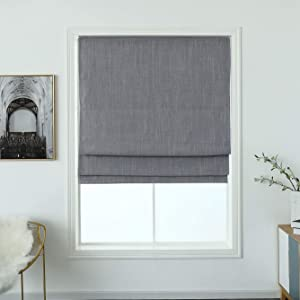 "Cordless Woven Blackout Roman Shade with Modren Cotton Denim Look, Privacy Material Window Roller Blind, (Earl Grey 27"" W X 64"" H)"