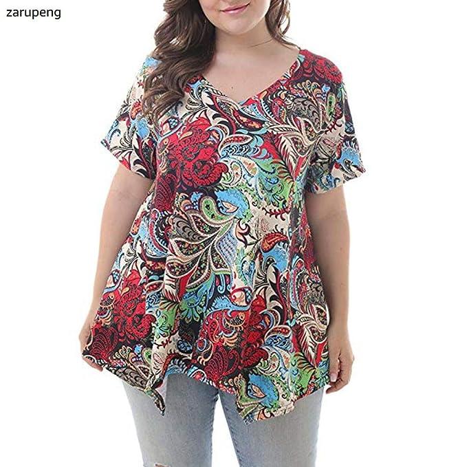 Zarupeng Las Mujeres de Cuello en V Mangas Cortas Impresas Manga Suelta Tops Camiseta Blusas
