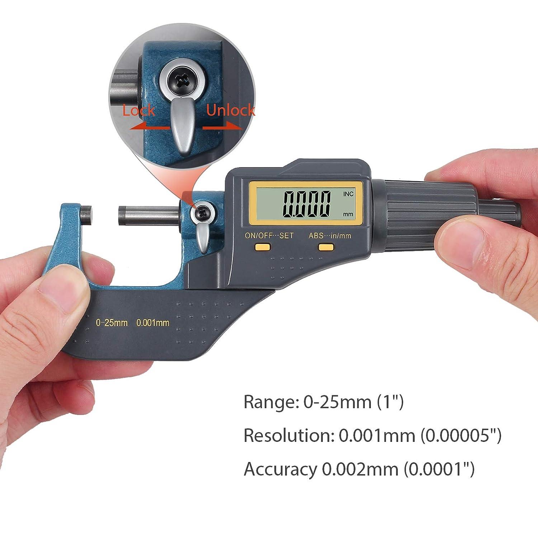 Digitaler Mikrometer B/ügelmessschraube Messschieber 0-1 Digital Externe elektronische Anzeige mit Absolute und inkrementelle Modi Digital Au/ßenmikrometer Inch//Metrische Messung