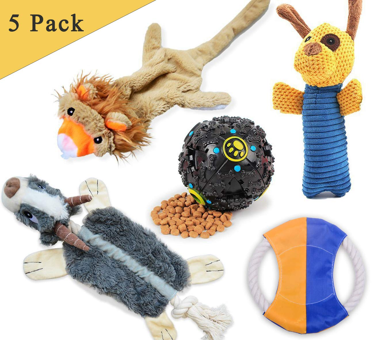 LOOBANI Dog Toys 5 Set丨 Plush Squeaky Toy Stuffed, Durable Knot Chew Toys, Cotton Rope Frisbee, Dispenses Treat Ball Assortment Small Medium Dog