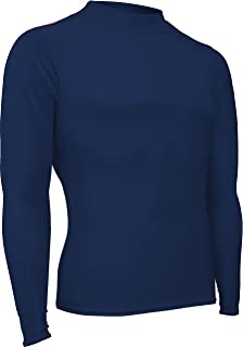 product image for HT-501L-CB Men's and Women's Athletic Form Fit, Long Sleeve Mock Neck Shirt (X-Small, Navy)