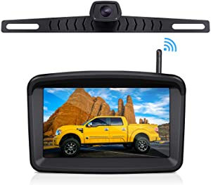 """Wireless Backup Camera with 5"""" HD Monitor Stable Digital Signal for Trucks/Trailer/RVs/Pickup/Camper/RVs/Van with Monitor Xroose Backup Camera F3 License Plate IP69K Waterproof 152°Night Vision"""