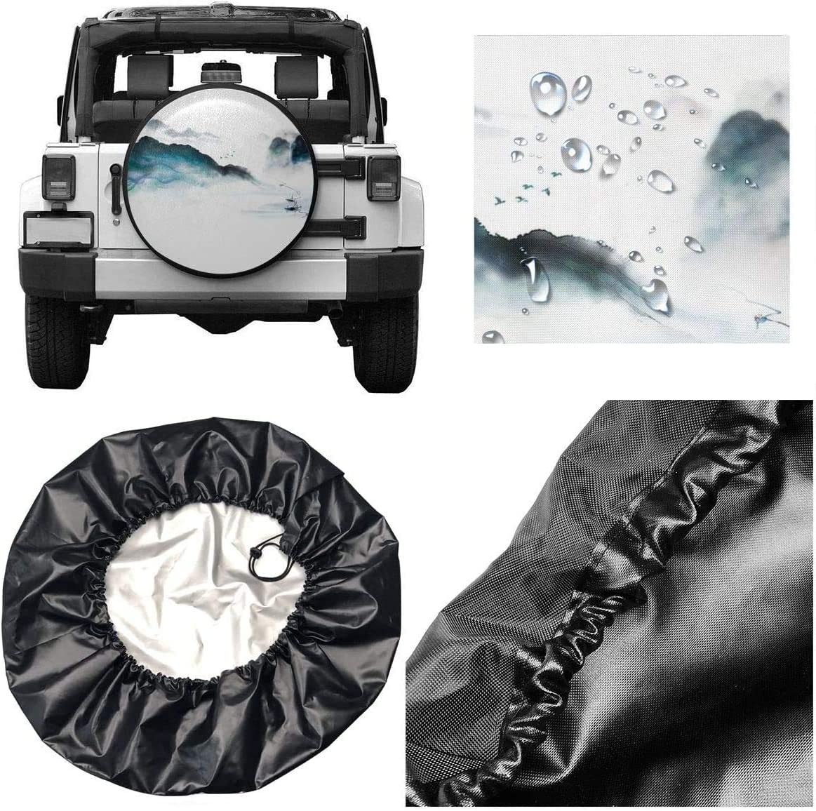 14 15 16 17 gthytjhv Reserveradabdeckung Vintage Mountain Boat Watercolor Polyester Universal Waterproof Wheel Covers for Trailer RV SUV Truck and Many Vehicles