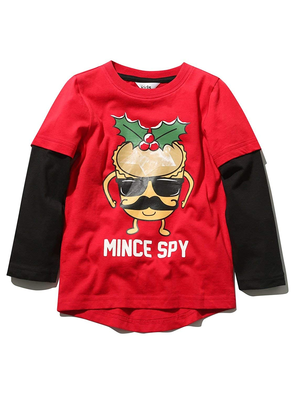 M& Co Boys Cotton Stretch Layered Long Sleeve Crew Neck Mince Spy Slogan Christmas T-Shirt