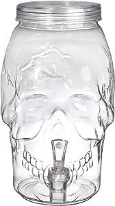 Clear Skull-Shaped Plastic Drink Dispenser, 1 gal- 1 pc.