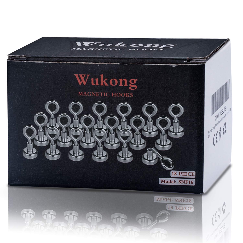 8 kg Zugkraft Wukong Set mit 18 starken Neodym-Magnethaken mit /Ösenschraube 16 mm Durchmesser
