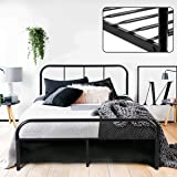 Double Bed Frame Coavas 4ft 6 Bed Frame with 2 headboard Metal Bed Frame Black