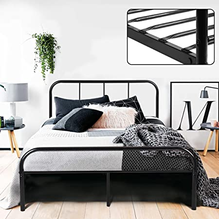 Captivating Coavas Double Bed Frame 4ft 6 Bed Frame With 2 Headboard Metal Bed Frame  Black