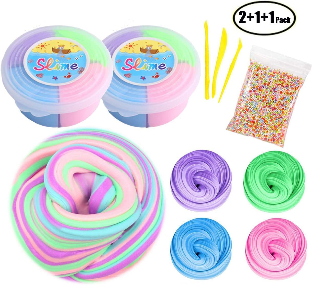 SWZY Fluffy Floam Slime Silly Putty Mud Non-Toxic Slime Kit for ...