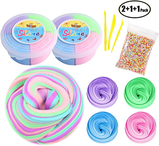 60ml Fluffy Slime Putty Floam Gag Mud Toy Puzzle Autism Kid Reduce Stress//Relief