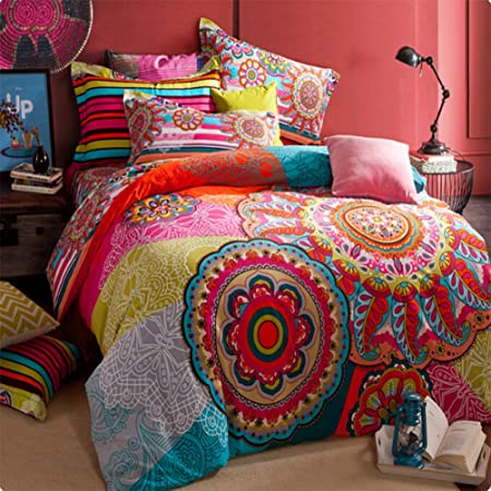 Copripiumino Colorato.Memorecool Home Textile Set Biancheria Da Letto In Cotone Stile