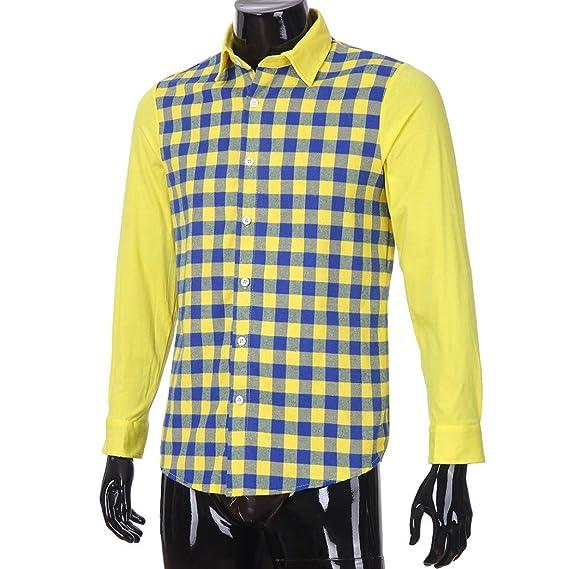 La Camisa de los Hombres, Camisa de Manga Larga Casual de la Tela Escocesa del Color de la impresión de la Moda de los Hombres: Amazon.es: Ropa y accesorios