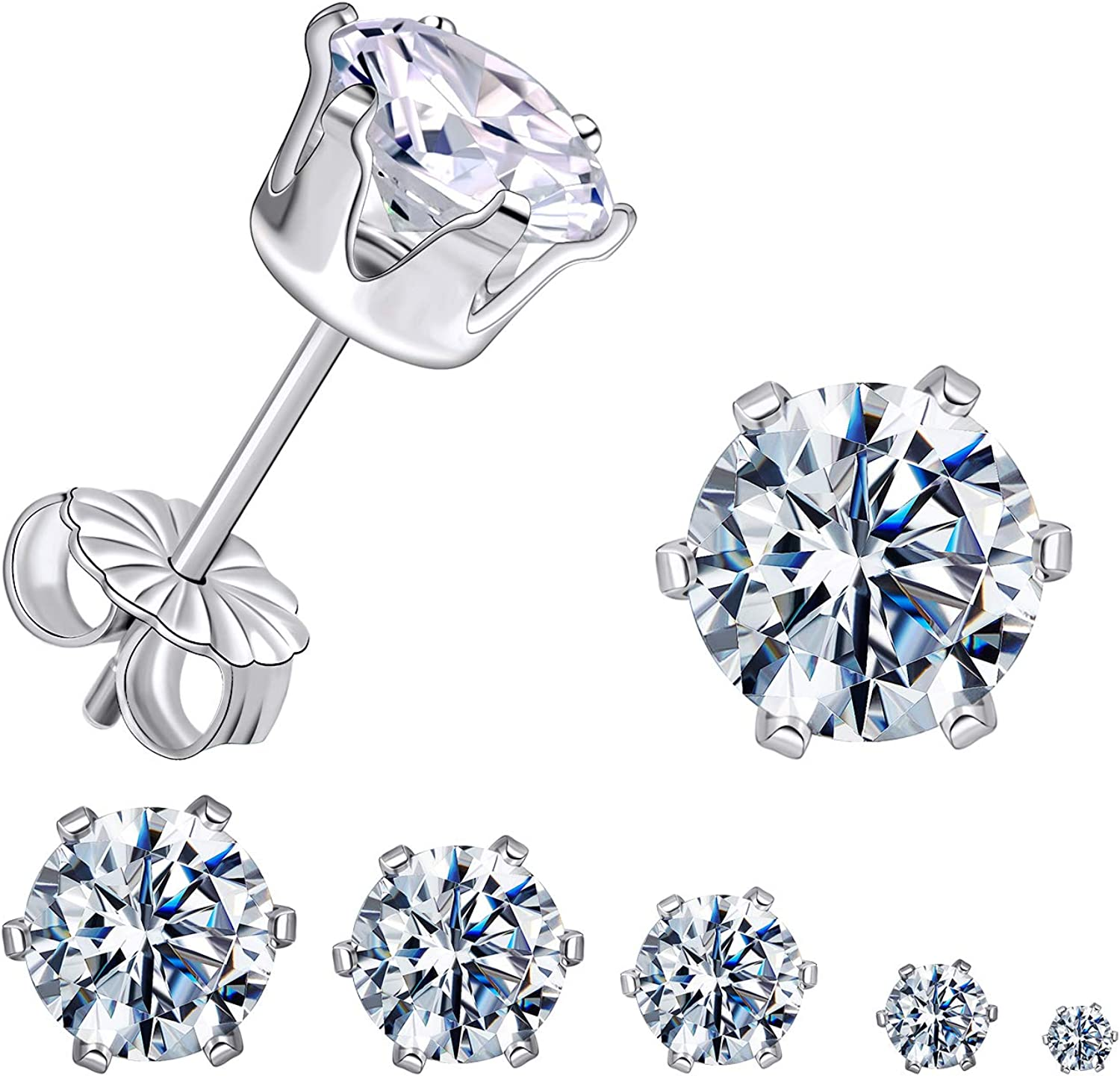GEMSME 925 Sterling Sliver Round Cubic Zirconia Stud Earrings Women Men Sparkly Jewelry Pack of 5