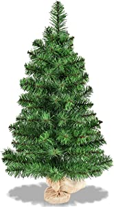 Goplus 3ft Tabletop Unlit Christmas Tree, Small Artificial Spruce Tree in Burlap Base, for Xmas Indoor Decor (3ft)