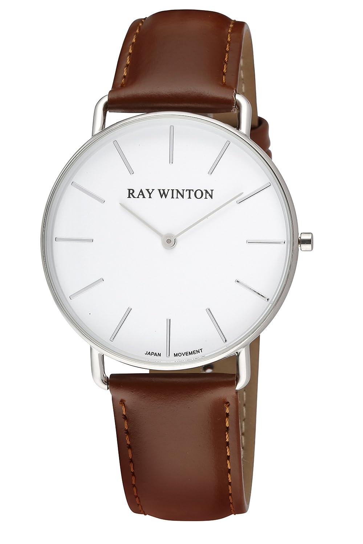 Ray Winton Herren Analog kratzfest weiß Zifferblatt Licht braun echtes Leder Band Armbanduhr