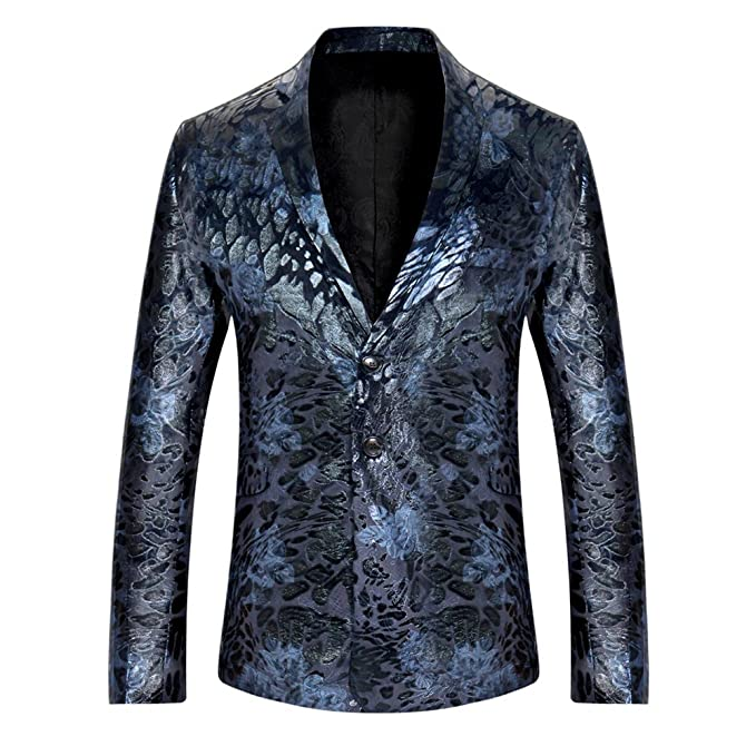 Fashionmy Men Blazers Print Sequin Wedding Dresses Prom Slim Fit Printing Blazers Suits Coats at Amazon Mens Clothing store: