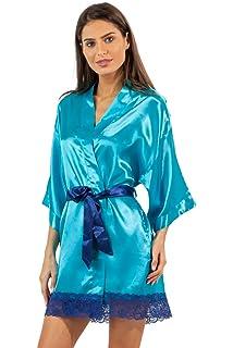 218a30182a Ashford   Brooks Women s Satin Kimono Bridesmaid Short Robe Silky Bathrobe  with Pockets