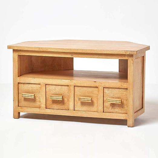 Homescapes in legno ad angolo per TV in quercia, 100% solido ...