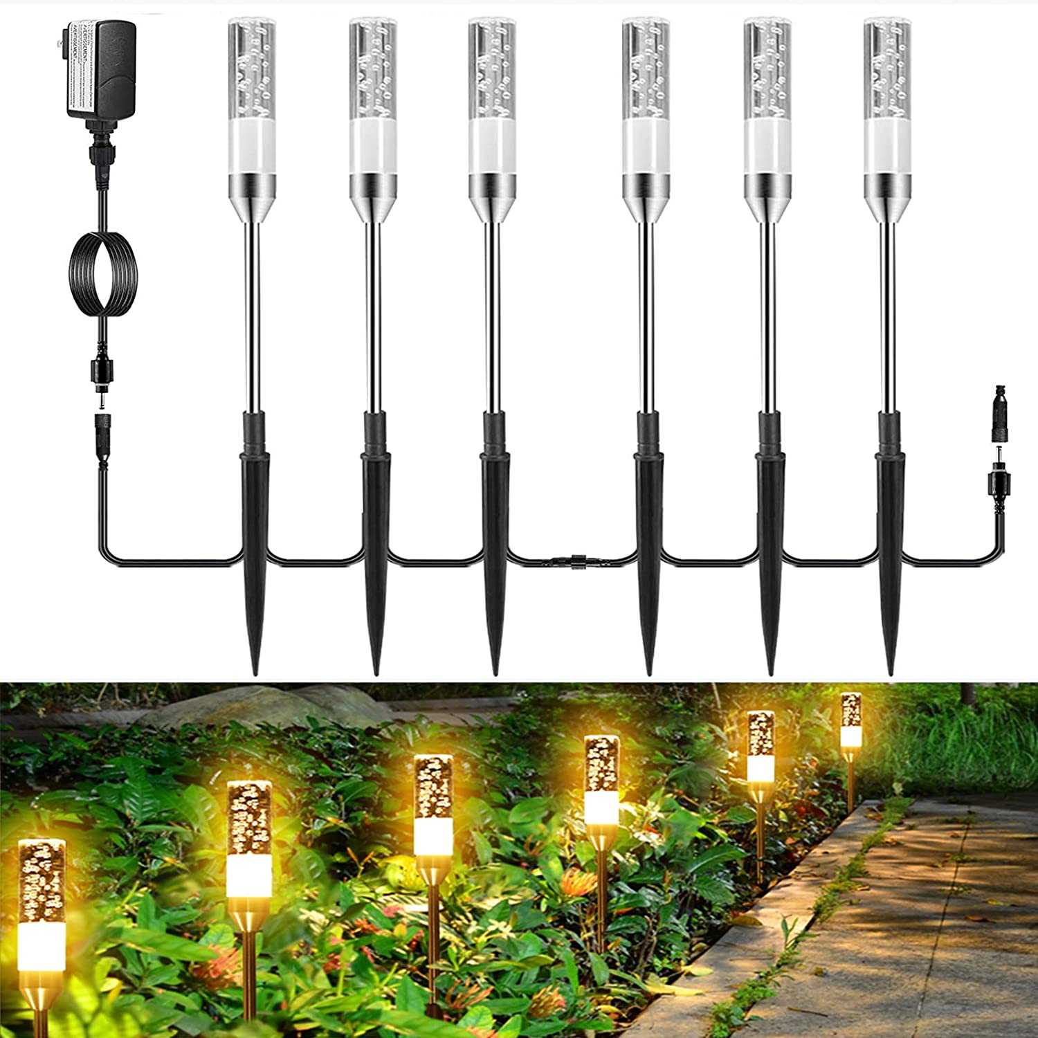 GreenClick LED Path Lights, 6 Pack 3W Extendable Pathway Lights 12V Low Voltage Landscape Lighting Plug in IP65 Waterproof Acrylic Bubble Outdoor Garden Lights for Lawn Patio Yard, 2700K