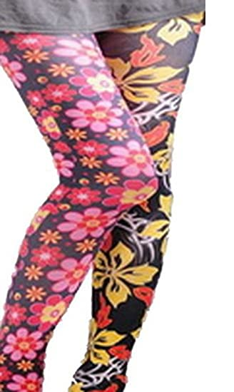 0a6b53d72d38d Image Unavailable. Image not available for. Color: Colorful Floral Print  Tights Pantyhose Leggings