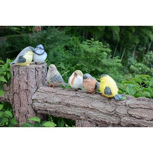 ounona resina p/ájaros artesan/ía Artisan Artware miniatura figura decoraci/ón de la casa jard/ín adorno 6/piezas
