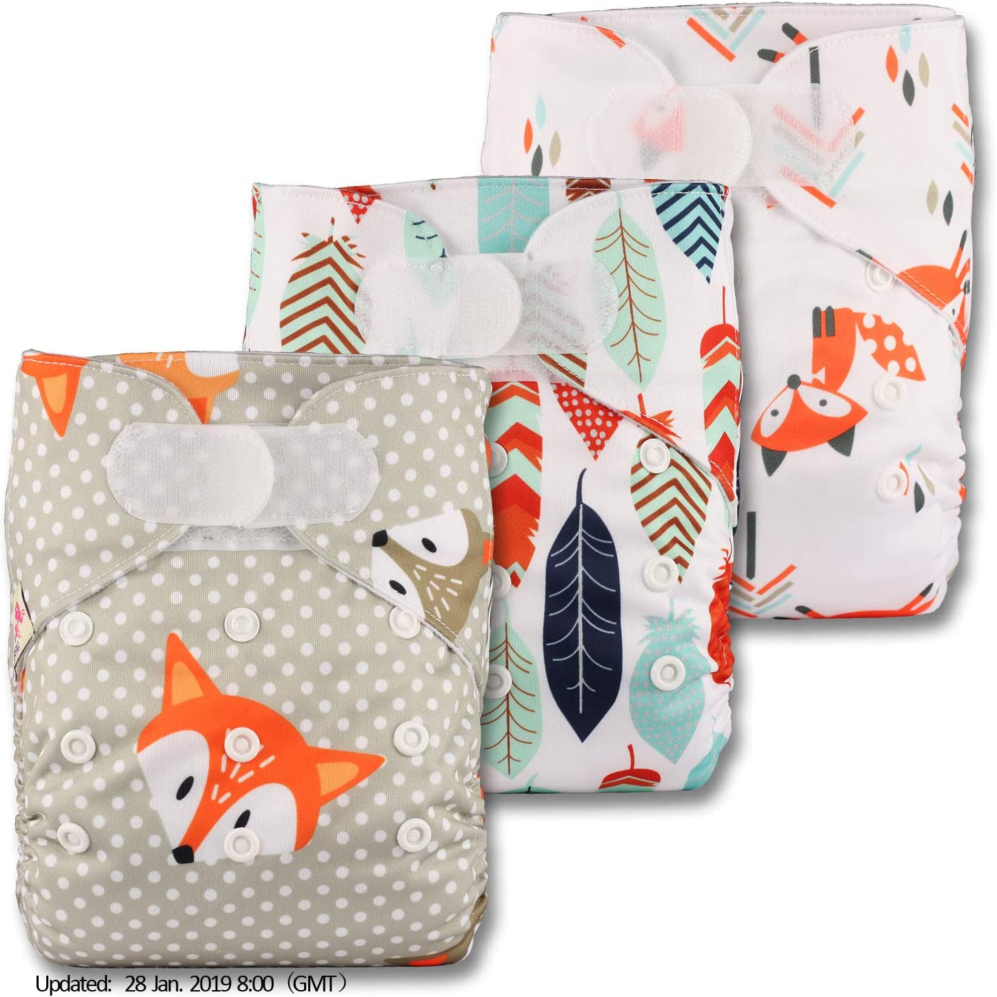 Reusable Pocket Cloth Nappy Set of 3 with 3 Bamboo Inserts Patterns 311 Fastener: Hook-Loop Littles /& Bloomz