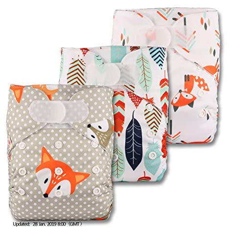 Fastener: Hook-Loop Littles /& Bloomz Patterns 322 Reusable Pocket Cloth Nappy Set of 3 with 6 Bamboo Inserts