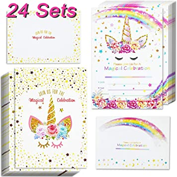 24pcs unicorn invitations with 24 envelopes and unicorn thank you tags rainbow glitter unicorn birthday party invitation cards for kids birthday baby