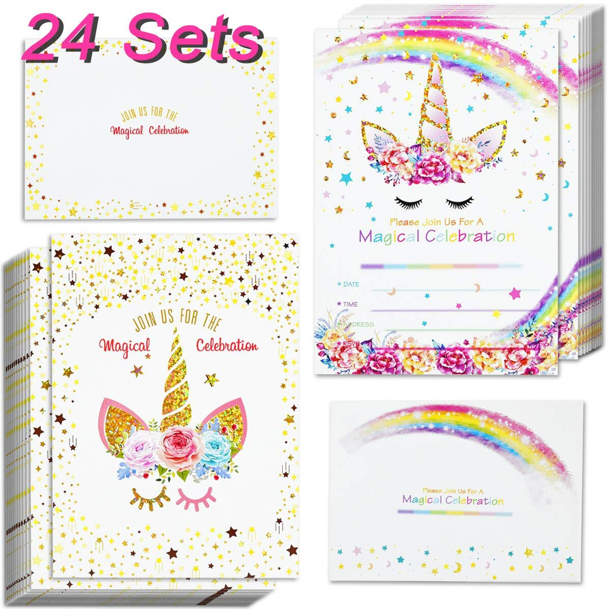 24pcs Unicorn Invitations With 24 Envelopes And Thank You Tags Rainbow Glitter Birthday Party Invitation Cards For Kids Baby