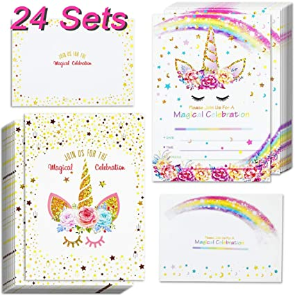 24pcs Unicorn Invitations With 24 Envelopes And Thank You Tags Rainbow Glitter Birthday