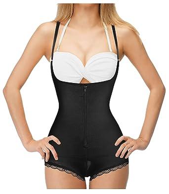 4b8ff2786e7 Nebility Women Waist Trainer Bodysuit Slim Zipper Shapewear Latex Open Bust  Corset Lace Panty (S