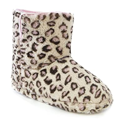 0cdc131dcc4e Universal Textiles Womens/Ladies Leopard Print Furry Boot Slippers (UK 3-4,