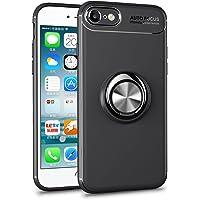 Mosoris iPhone 8 Hülle, iPhone 7 Handyhülle Ring Kickstand Silikon Cover 360 Grad Drehbarer Ständer Magnet Ring, Stoßfest Rüstung Schutzhülle Bumper Tasche Case für iPhone 8,Schwarz + Schwarz