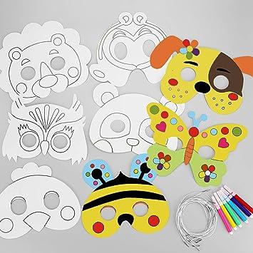 Hifot 8 pacchi Caretas Máscaras para Colorear Maschere per gli occhi con Carta Bianca Color in Animal Face Masks con Corda Elastica affinchè i Bambini ...