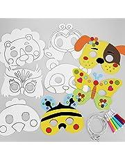 Hifot Paquet de 8 Masques à colorier Masques pour Les Yeux Carte Blanche Couleur dans Les Masques faciaux avec Corde élastique pour Les Enfants à Faire ou à décorer
