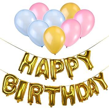 NUOLUX Feliz cumpleaños carta globos fiesta suministros decoraciones: Amazon.es: Hogar