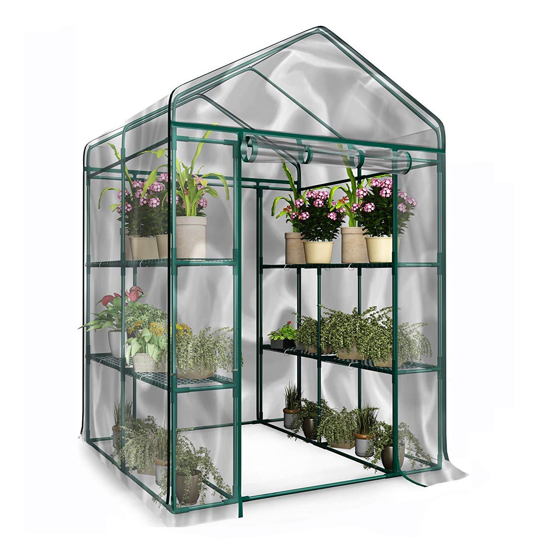 Superday Walk-in PortableMini Greenhouse Plant Shelves Garden Green House w/Cover Zipper Door