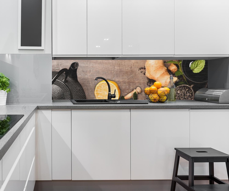 ... rústica con Hierbas Design M0847 240 x 60 cm (W x H) - Aluminio Cepillado 3mm Pared Trasera Cocina Foto Foto Cocina Foto Foto Motivo Estufa azulejo ...