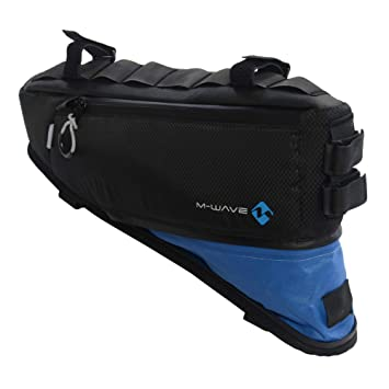 M-Wave BP Bolsa Cuadro Bicicleta Rough Ride Triangle, Adultos Unisex, Negro/Azul, 42x14-25 cm