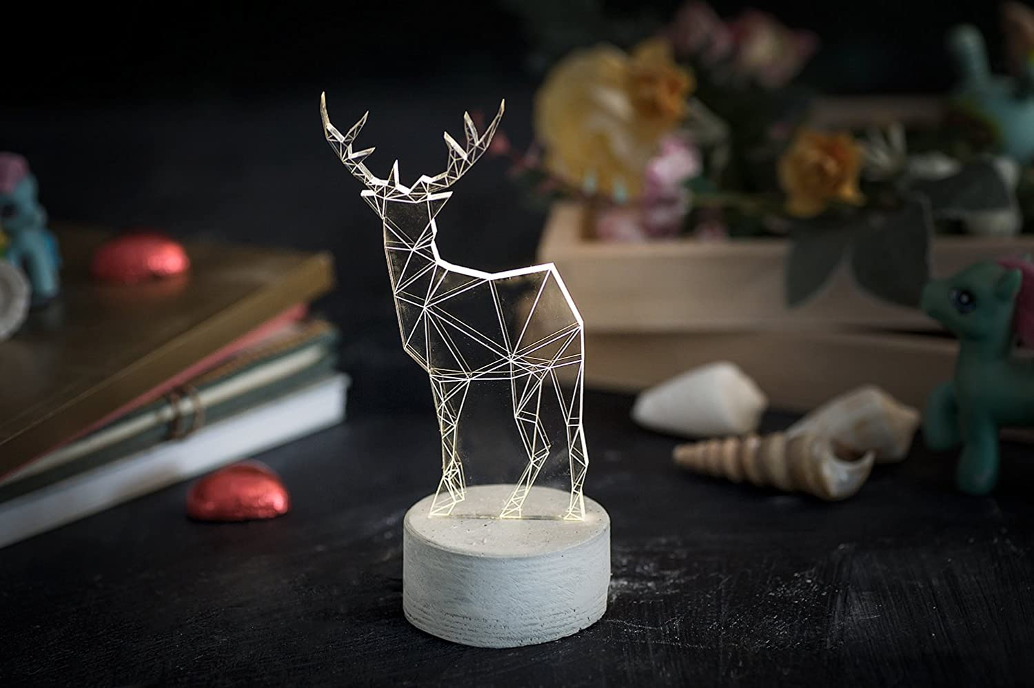 Grey concrete deer lamp / animal night light / stag night light / bedside fawn lamp / childrens lamp