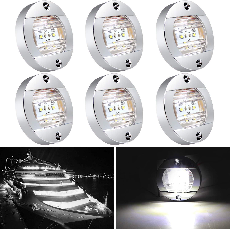 6 Pcs Marine Boat LED Cabin Deck Courtesy Light Stern Transom Lights 12V DC for Boating Kayak Yacht, Dinghy, Sailboat, Pontoons, Navigation Vessels, Freighters, Hovercrafts, Hunting & Fishing