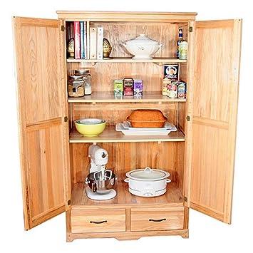 Amazon Com Oak Kitchen Pantry Cabinet Kitchen Dining