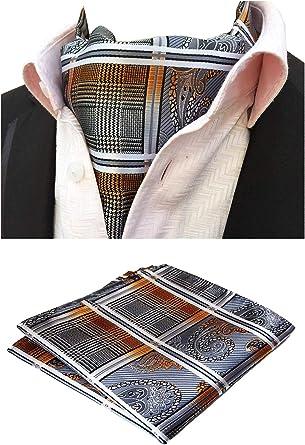 MOHSLEE Mens Grey Plaid Ascot Jacquard Woven Gift Silk Cravat Self Ties Necktie