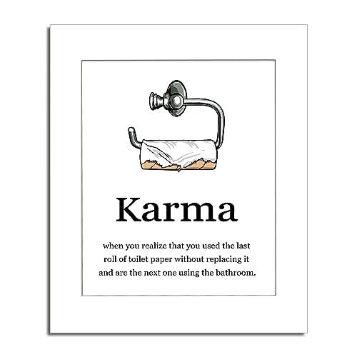 Amazon Com Karma Bathroom Print Bathroom Wall Art Unframed Art Print W Mat 11x14 Handmade