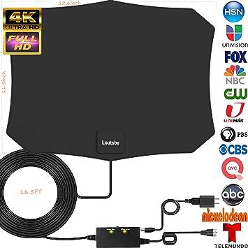 Antena de TV digital HD amplificada, Skywire TV Antenna rango de 80 millas, compatible con 4K